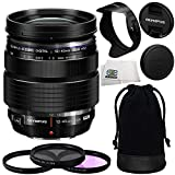 Olympus M. Zuiko Digital ED 12-40mm f/2.8 PRO Lens (White Box) with Manufacturer Accessories + 3 Piece Filter Kit (UV+CPL+FLD) and Microfiber Cleaning Cloth