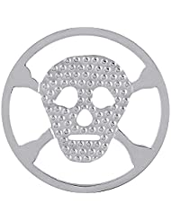 MS Koins Stainless Steel Coin Skull and Crossbones Fits Our Coin Locket System, 30mm Diameter