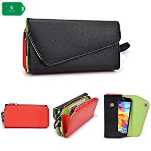 Blu Deco XT Q280 -UNIVERSAL- WOMENS WRISTLET PHONE HOLDER W/ INTERNAL CARD SLOTS- BLACK AND RED- BONUS CROSS BODY CHAIN INCLUDED