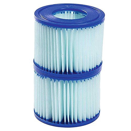 Bestway Lay-Z- Spa Xtrs Hot Tub Pool Antimicrobial Replacement Filter Cartridge Twin Pack Size VI A-BW58477[2 x Twin Pack] BestwayFilter