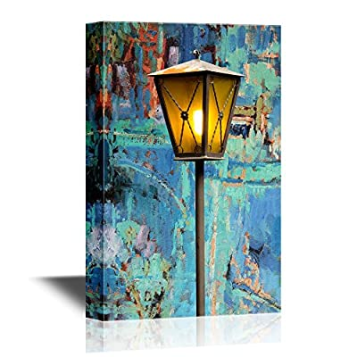 Canvas Wall Art - Lamp with Dim Light on Grunge Background - Gallery Wrap Modern Home Art | Ready to Hang - 12x18 inches