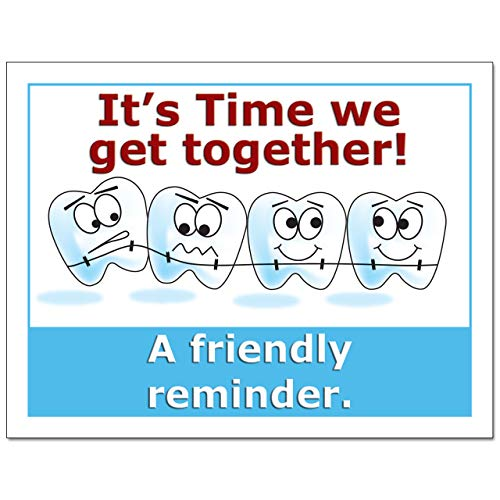 Laser Reminder Postcards, Orthodontist Appointment Reminder Postcards. 4 Cards Perforated for Tear-Off at 4.25'' x 5.5'' on an 8.5'' x 11'' Sheet of 8 Pt Card Stock. DEN122-LZS (10000) by Custom Recall (Image #2)