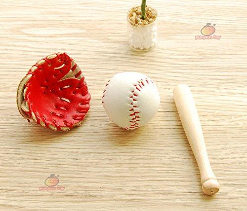 Dollhouse Miniature Wooden Baseball Bat Glove (Miniature Baseball)