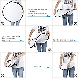 U-miss Round Light Reflector 43 inch 110cm 5 in 1 Portable Collapsible Disc with Bag