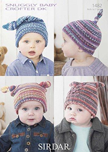 Sirdar Baby Crofter Dk Babychildrens Hats Knitting Pattern 1482