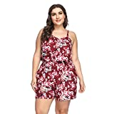YUMDO Women's Plus Size Floral Print Jumpsuit Sleeveless Short Pants Romper Red XXL