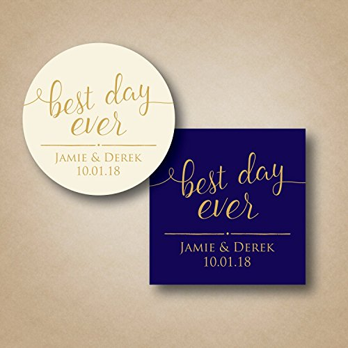 Best Day Ever Wedding Favor Labels Choice of Square or Round 20 Color - Em Square
