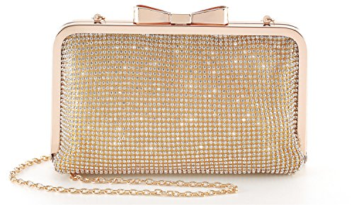 Yuenjoy Womens Crystal Rhinestone Evening Bags Wedding Clutch Purse with Bow Frame (Gold)