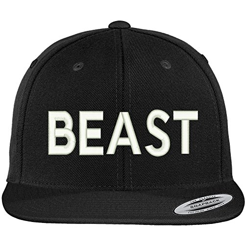 Trendy Apparel Shop Beast Embroidered Flat Bill Snapback Baseball Cap - (Beast Womens Cap)
