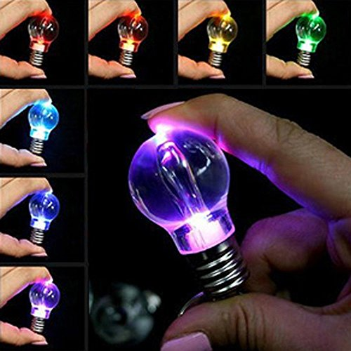 Hot Sale!DEESEE(TM)New Mini Cute Key Chain Touch 7 Color Changing LED Light Lamp Bulb Keychain Toy -