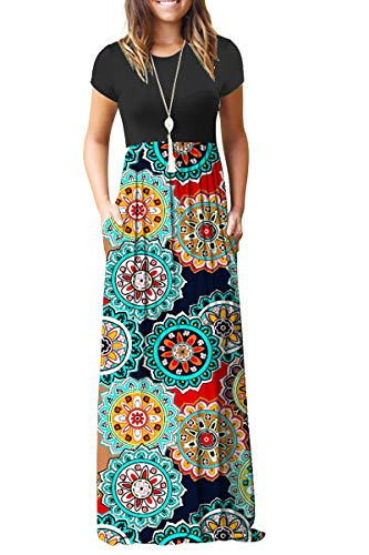 (AUSELILY Women Short Sleeve Loose Plain Casual Long Maxi Dresses with Pockets (L, Round Floral Red))