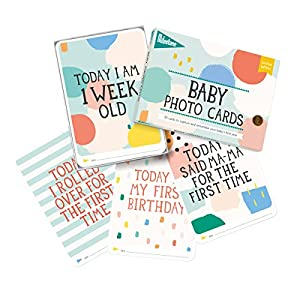 Milestone - Baby Photo Cards Limited Edition Cotton Candy - Set of 30 Photo Cards to Capture Your Baby's First Year in Weeks, Months, and Memorable Moments