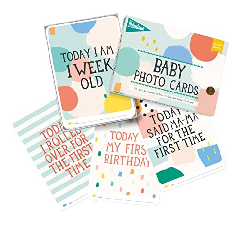 Milestones Baby Photo Cards Limited Edition Cotton Candy - Set of 30 Photo Cards to Capture Your Baby's First Year in Weeks, Months, and Memorable (Moment Limited Edition)
