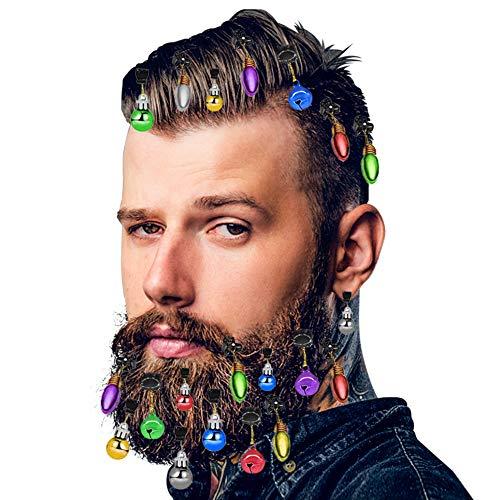 DomeStar Beard Ornaments, 24PCS Beard Jingle Bells Christmas Facial Hair Baubles Holiday Beard Decorations for Men