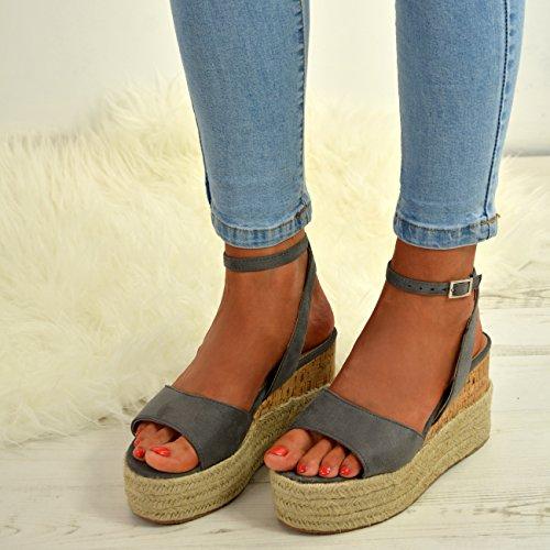 Platforms Party Ladies Flatform Sandals Espadrille Shoe Ankle Womens Strap Grey Fashion Cucu Wedge Cqw60