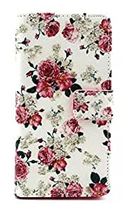 Case for Lumia 535,Cover for Lumia 535,Turpro™ Floral Wallet Case with Soft Inner TPU for Microsoft Lumia 535, PU Leather Flip Folio Case Cover with Card Holders and Stand Function for Microsoft Lumia 535,PU Leather Flip Folio Floral Wallet Case Cover with Card Holders and Stand Function for Microsoft Lumia 535 (Rose) by Turpro