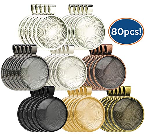 Bastex 40 Piece Pendant Trays. 8 Different Colors with a Round Bezel Setting. Includes 40 Glass Cabochon Dome. 25mm / 1 Inch Diameter. (25 Mm Square Bezel)