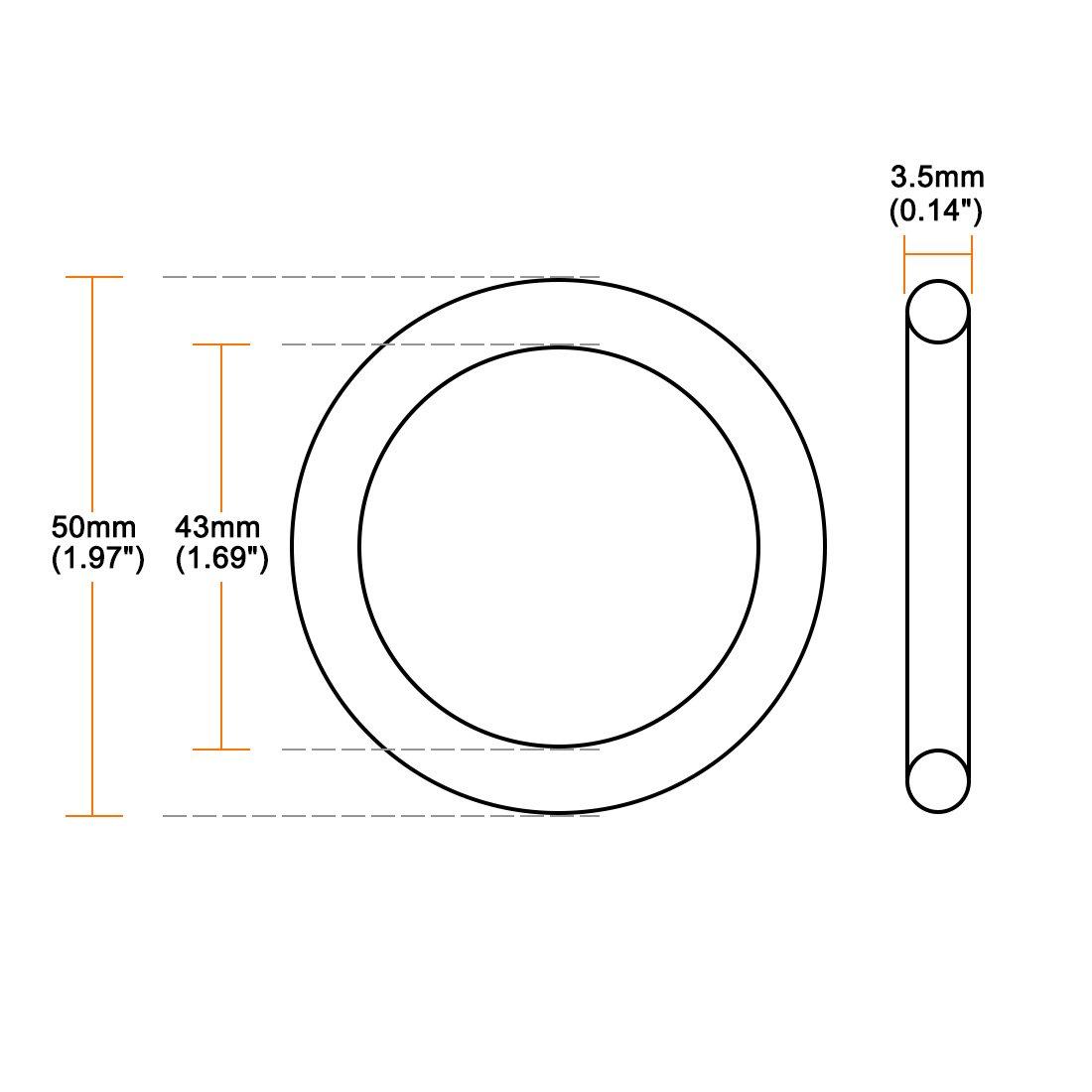 sourcing map Silicone Joint torique 50mmx43mmx3.5mm VMQ Anneaux Joint /étanch/éit/é Rouge 10 Pcs