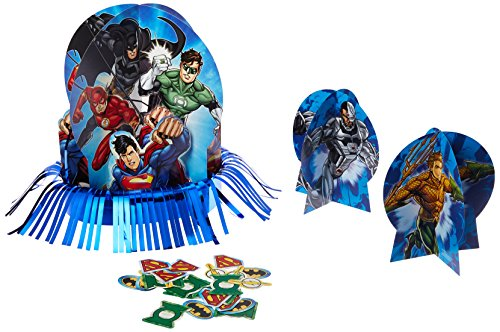 Adventure Filled Justice League Birthday Party Assorted Table Decorating Kit, Multi Colored, Paper, Assorted Sizes, 23-Piece -