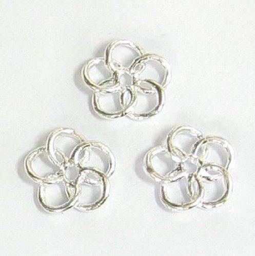 6 pcs .925 Sterling Silver 6.6mm Round Flower Spacer Bead Charm / Connector / Findings / (Round Flower Connector)