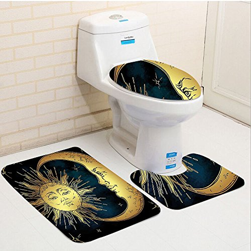 Keshia Dwete three-piece toilet seat pad customPsychedelic Sacred Moon and Sun in Antique Style Lunar Myth Astrology Zen Art Print Petrol Blue Yellow ()