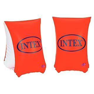 Intex- Braccioli Deluxe, Colore Arancio/Bianco, 30 x 15 cm, 58641