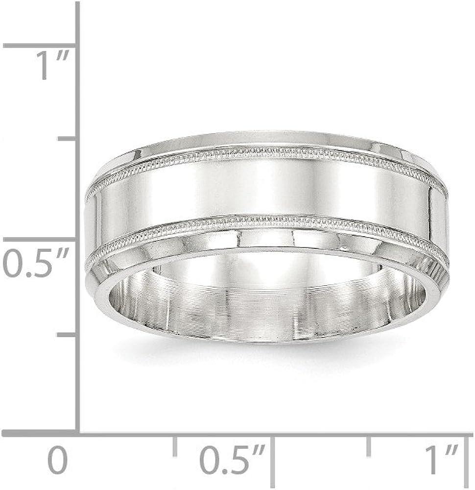Bridal Wedding Bands Fancy Bands SS 8mm Polished Fancy Band Size 10 Size 9.5