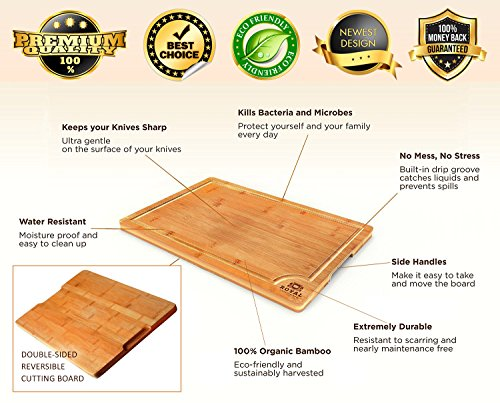 EXTRA LARGE Organic Bamboo Cutting Board with Juice Groove - Best Kitchen Chopping Board for Meat (Butcher Block) Cheese and Vegetables   Anti Microbial Heavy Duty Serving Tray w/ Handles - 18 x 12 by Royal Craft Wood (Image #3)