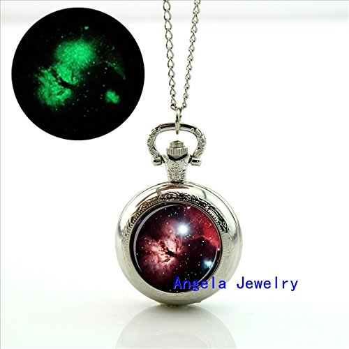 - Pretty Lee Fashion Galaxy Glowing Pendant Galaxy Pocket Watch Floating Glass Lockets Necklace