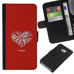 Planetar® Modelo colorido cuero carpeta tirón caso cubierta piel Holster Funda protección Para Samsung Galaxy S6 / SM-G920 EDGE ( Red White Minimalist Quote Love Valentines )