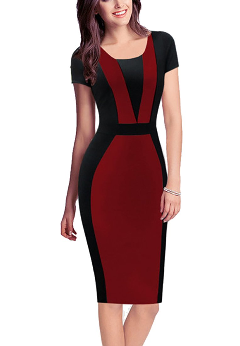 REPHYLLIS Women Vintage Summer Round Neck Business Working Cocktail Party Bodycon Pencil Dress Burgundy XL