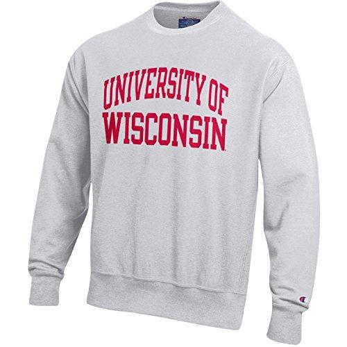 (Champion NCAA Wisconsin Badgers Men's Men's Reverse Weave Crew, Large, Gray)