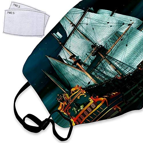 Pirate Ship Dust Mask Reusable Washable Breathable Anti Pollution Mask with PM 2.5 Activated Carbon Filter Insert Flu Mask Face Safety Masks For Boys Girls]()