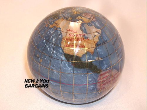 "Marine Blue 3"" Gemstone Globe Paperweight in Gift Box"