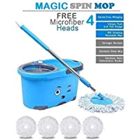 N S ENTERPRISES Mop Bucket Magic Spin Mop Bucket Double Drive Hand Pressure with 2 Micro Fiber Mop Head Household Floor Cleaning & 4 Color May Vary (with Soap Dispenser)