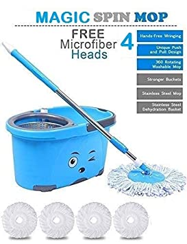 N S ENTERPRISES Mop Bucket Magic Spin Mop Bucket Double Drive Hand Pressure with 4 Micro Fiber Mop Head Household Floor Cleaning & 4 Color May Vary (with Soap Dispenser)