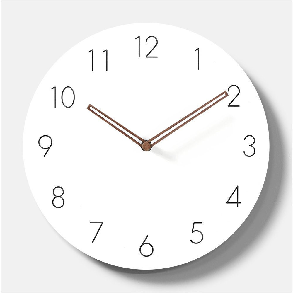 Simple Modern White Round Wooden Wall Clock 11 inch Non-ticking one AA battery powered (Arabic Numbers)