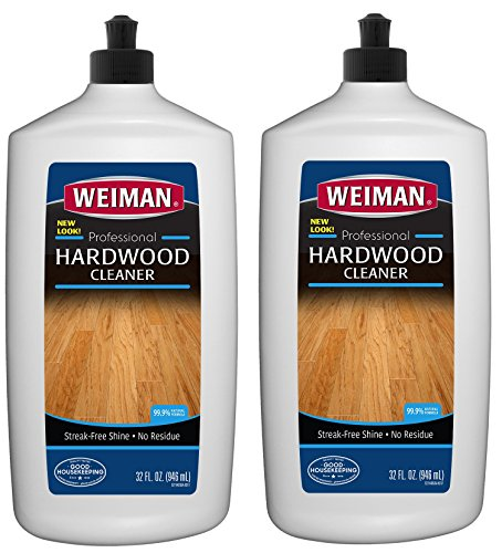 Weiman Hardwood Floor Cleaner (2 Pack) 32 Ounce - Non-Toxic Wood Finished Oak Maple Cherry Birch Engineered - Professional Safe Streak-Less