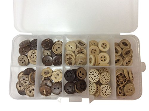 longshine-us 100pcs 13mm 10 Patterns 2 Hole Mixed Natural Cocount Buttons Round Sewing Craft Type Wood Buttons Accessories Sewing with Free Plastic Box for DIY Handmade -