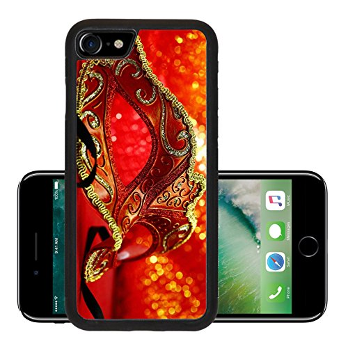 Luxlady Premium Apple iPhone 7 Aluminum Backplate Bumper Snap Case iPhone7 IMAGE ID: 34457514 Vintage carnival mask in front of glowing (Halloween Costume Stores In Ma)
