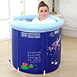 Li Jing Firm Inflatable bathtub bathing bath barrel adult built-in cushion bucket children's washbasin thick design collapsible and easy storage (Color : Blue, Size : 58x65cm)