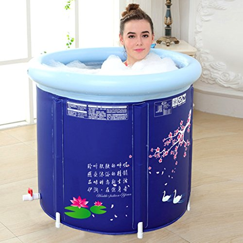 Bathtubs Freestanding Inflatable Bathing Bath Barrel Adult Built-in Cushion Bucket Children's washbasin Thick Design Collapsible and Easy Storage (Color : Blue, Size : 58x65cm) by Bathtubs