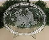 "Mikasa Nativity Crystal Candy Dish Vintage 7"" X 9"