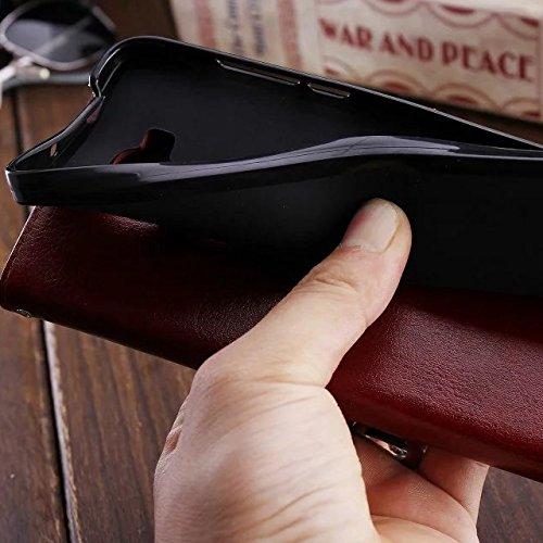 JIALUN-Personality teléfono shell Funda Samsung J7, diseño magnético flip folio PU funda de piel funda de la caja de estilo sólido de color sólido para Samsung J7 Seguridad y Moda ( Color : Blue , Siz Brown