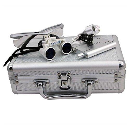 alluminio Box Lente Occhiali Head Lamp 3.5/X 420/mm Dental binoculari chirurgica Loupes