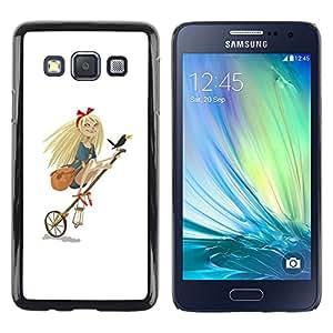 Shell-Star Arte & diseño plástico duro Fundas Cover Cubre Hard Case Cover para Samsung Galaxy A3 / SM-A300 ( Girl Witch Funny Parody Blonde Crow Art )