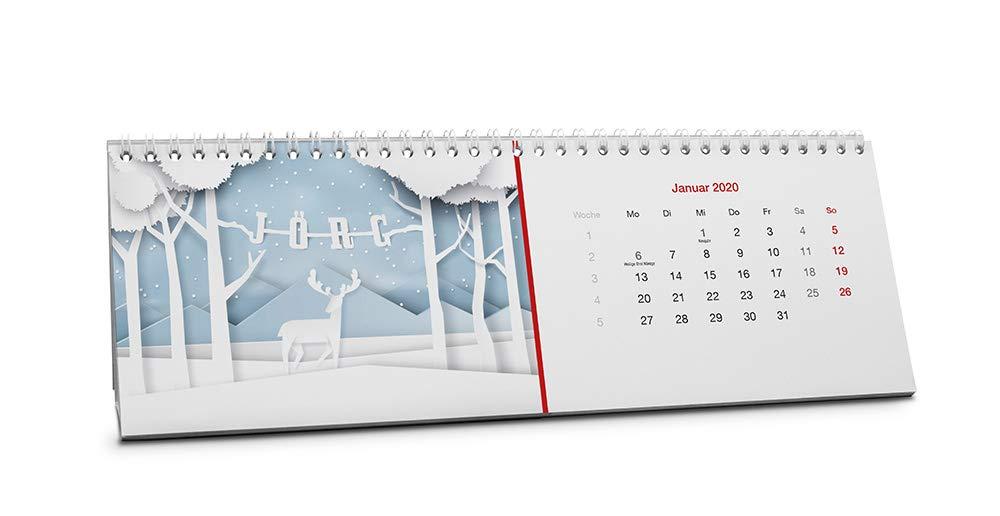 Startmonat Juli 2019 Farbe : Blau Tischkalender 2019-2020 als personalisierter Kalender mit Namen Namenskalender J/örg
