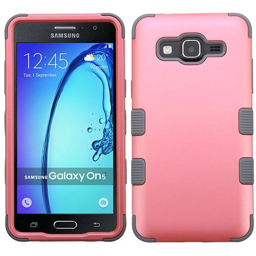 Price comparison product image Asmyna Cell Phone Case for Samsung On5 - Rubberized Pearl Pink/Iron Gray