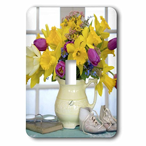 3dRose lsp_83325_1 Spring Flower Bouquet In Vase Na01 Bja0099 Jaynes Gallery Single Toggle - Bouquet Switchplate