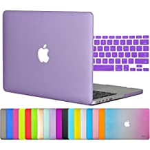 """Easygoby 2in1 Matte Frosted Silky-Smooth Soft-Touch Hard Shell Case Cover for Apple 13.3""""/ 13-inch MacBook Pro with Retina Display Model A1425 /A1502 (NO CD-ROM Drive) + Keyboard Cover - Purple"""